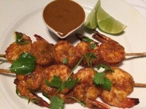 Grilled Prawns with a Spicy 'satay style' sauce