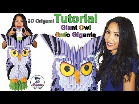 Origami 3D Giant Owl (A4) - Gufo Gigante Origami 3D (A4) - YouTube
