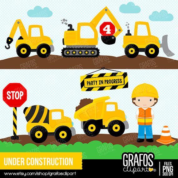 UNDER CONSTRUCTION Digital Clipart Set Imagenes por GRAFOSclipart