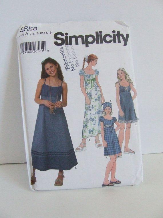 Uncut Simplicity sewing pattern 5656 tween teen girls dress