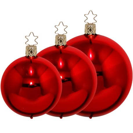Christbaumkugeln rot glänzend Ø 4cm - Ø 12cm Inge-Glas® Manufaktur Weihnachtskugeln