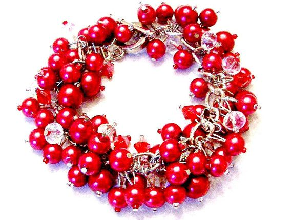 Red Pearl and Crystal Cluster Bracelet by SeagullSmithJewelry