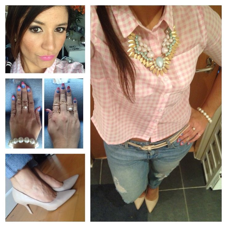 Pink check top, distressed jeans, nude court shoes