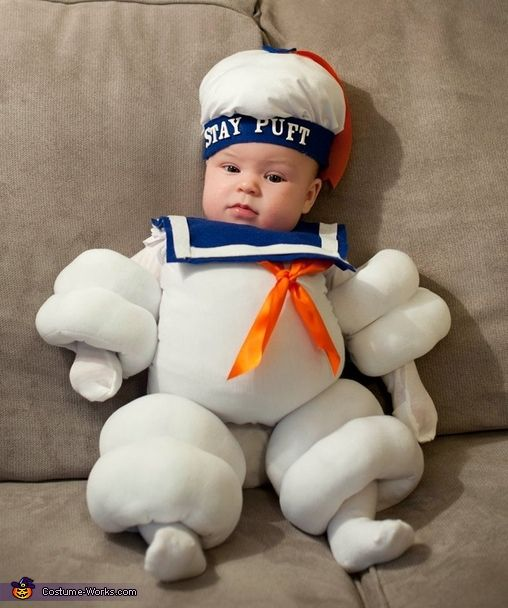 Stay Puft Marshmallow Man Halloween Costume and the parents can't dress up as ghost busters so doing this one day!!!!