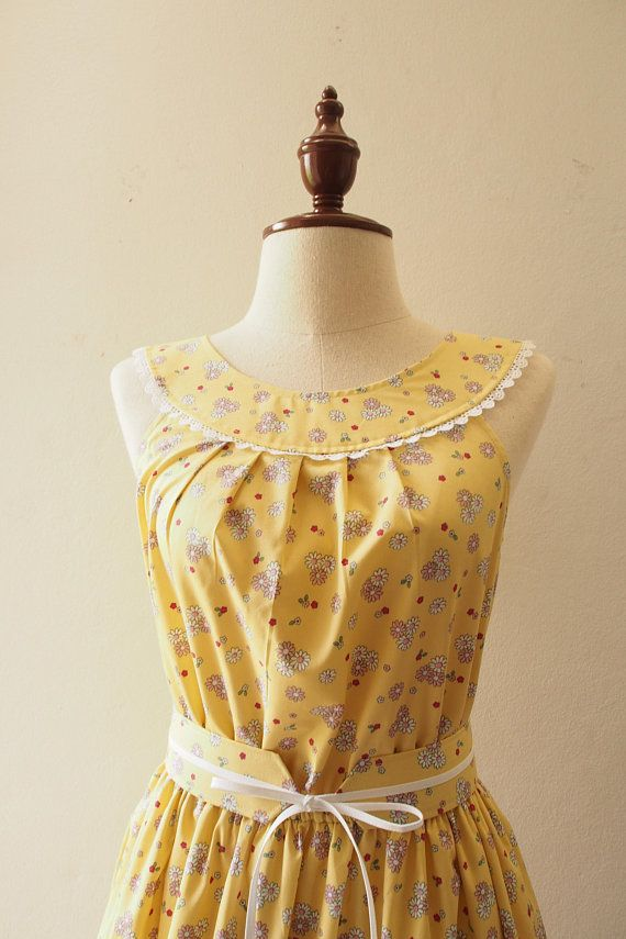 Tea Party Yellow Floral Dress Summer Dress Vintage Modern Cozy Style Clothing Swing Dance Dres Yellow Floral Dress Floral Dress Summer Vintage Summer Dresses