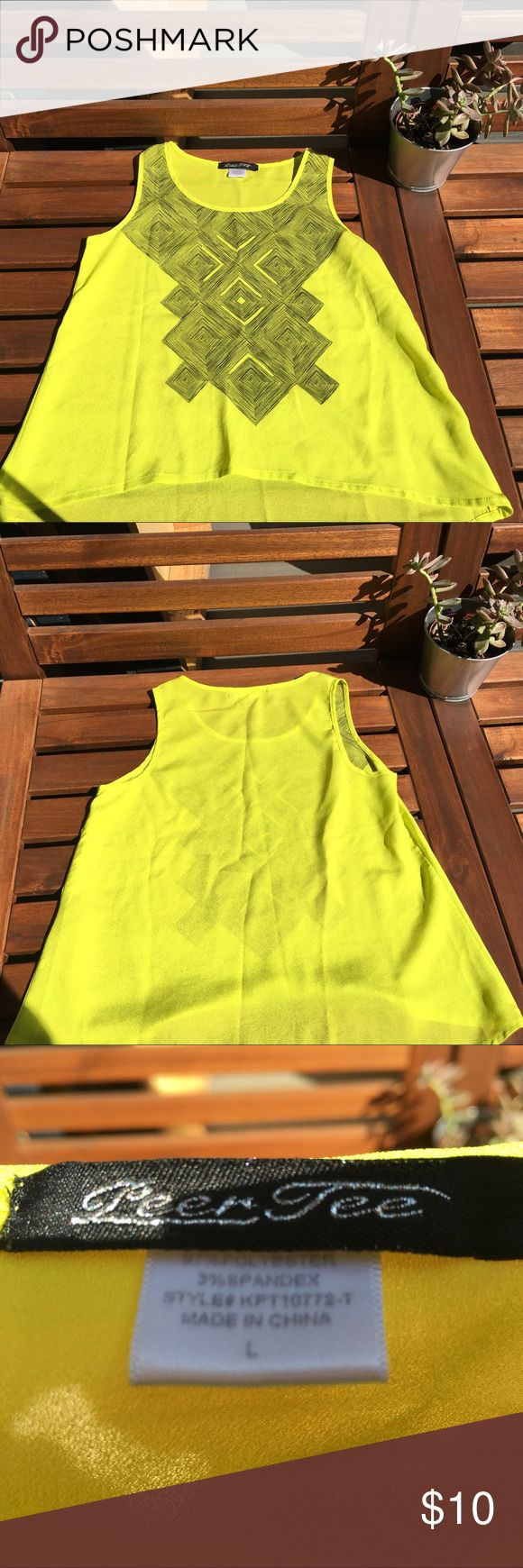 Girls Sheer Yellow Tank Top Really cute like new fluorescent yellow green with a black triangle pattern, tank top style and hi low, sheer so would recommend a Cami or tank top under. Purchased from Saks Fifth Ave peer tee Shirts & Tops Tank Tops