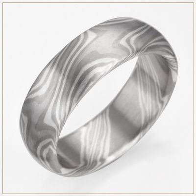 Precious Metal Accented Mokume Gane Wedding Ring