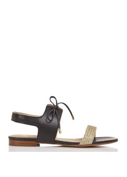 Platte sandalen van twee materialen La Friponne Zwart by BOBBIES