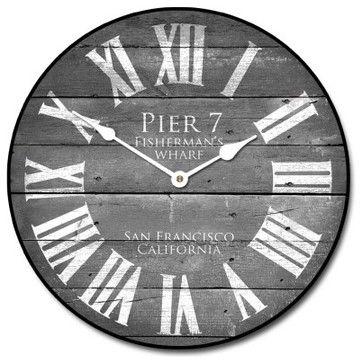Pier 7 Wall Clock, Gray transitional-wall-clocks