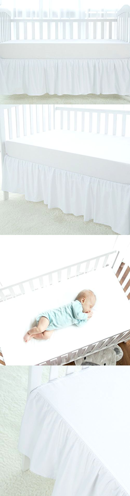 Cribskirts and Dust Ruffles 52345: White Crib Skirt Dust Ruffle, 100 Natural Cotton, Nursery Crib Bedding Skirt F -> BUY IT NOW ONLY: $54.62 on eBay!