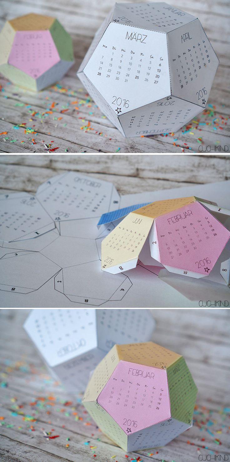 3D-Kalender 2016 zum Ausdrucken (Free Printable)