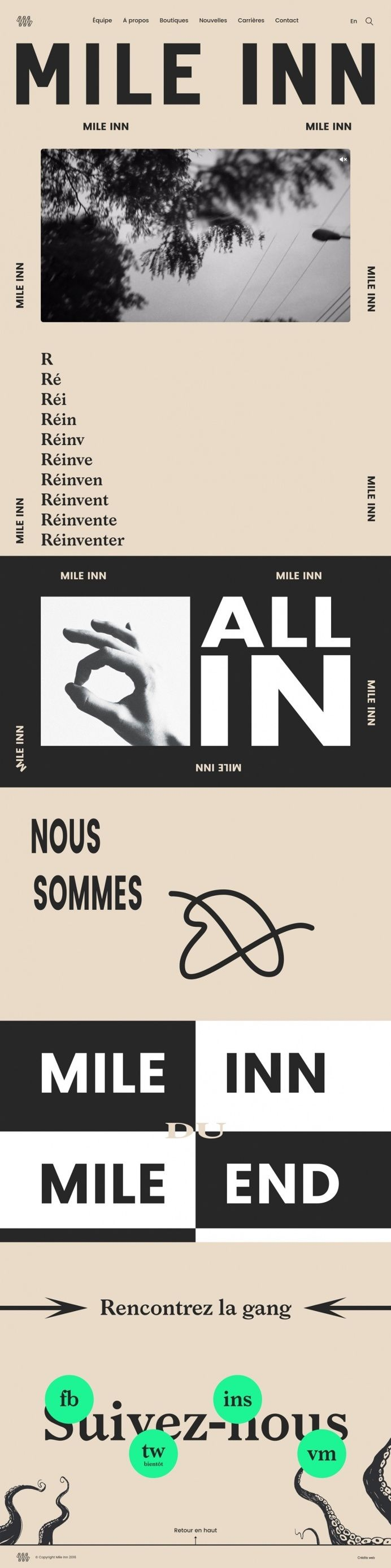 mile inn french francais webdesign website beautiful portfolio modern typography type design award site of the day beauty beautiiful new nic