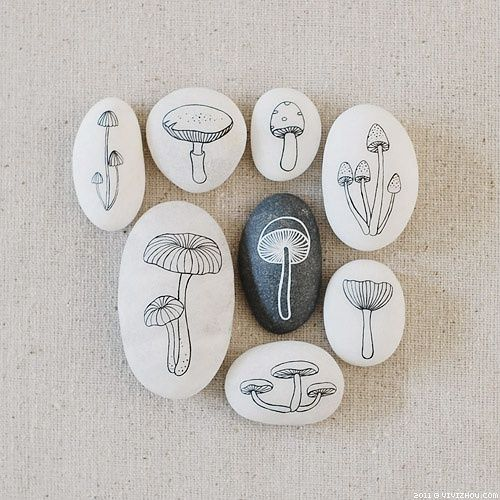 painted mushrooms on rocks- wow so well done, the painting would have taken so long but the results look well worth it.