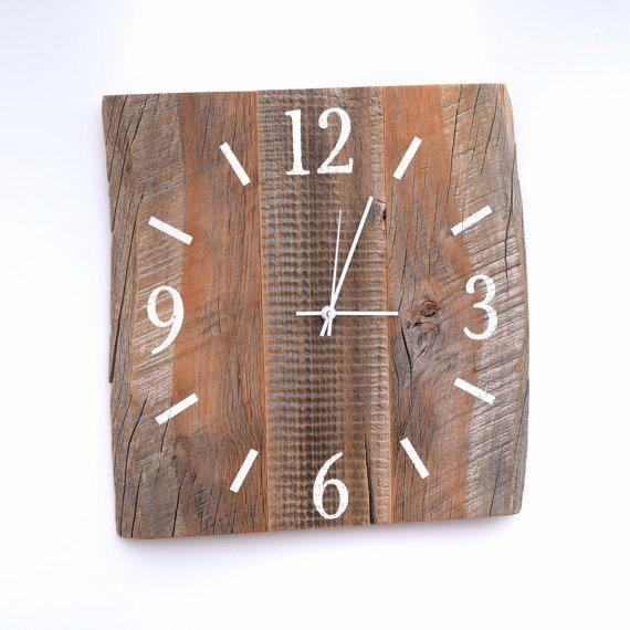 Celeiro de madeira grande relógio de madeira Relógio recuperada por TheRusticPalette