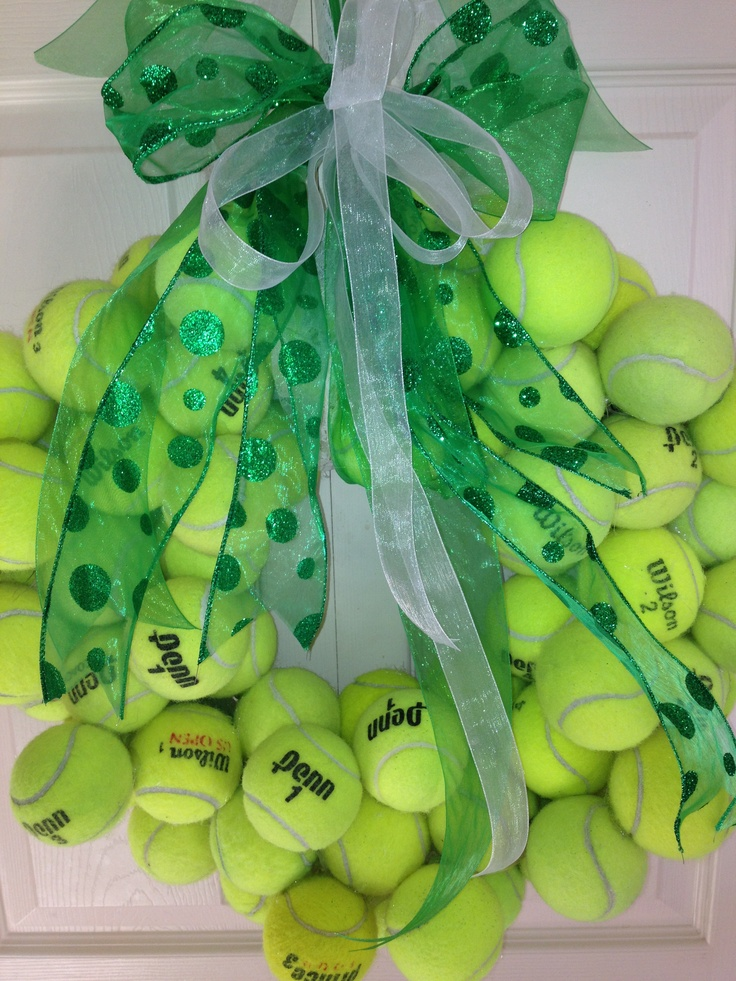 Hm. You don't see them from this angle very often...Tennis ball wreath!