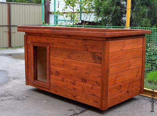 """Классика утеплённых будок: тамбур, съёмная крыша. Цвет """"тиковое дерево"""""""