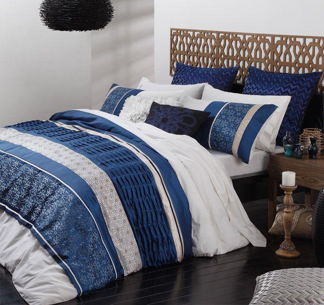 BOHEMIA Blue 3 Pce SUPER KING Size Quilt / Doona Cover Set LOGAN ... : king size quilt covers australia - Adamdwight.com