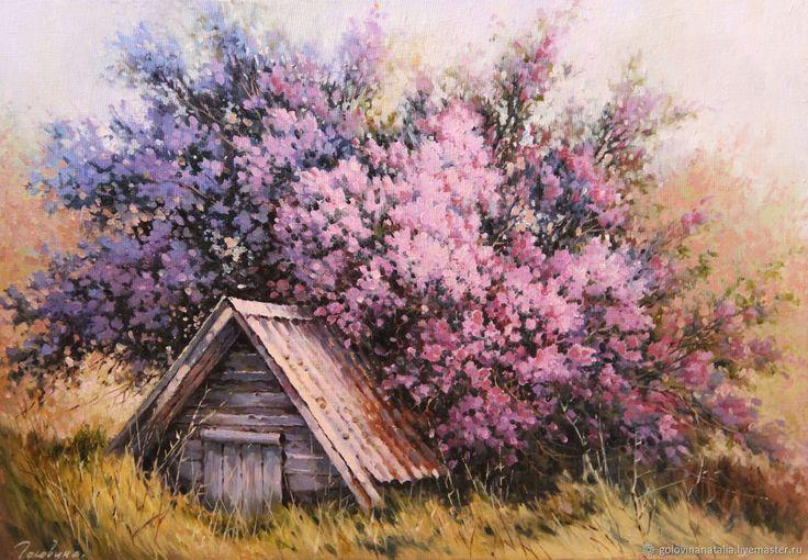 Купить Картина маслом,пейзаж, В тени сирени в интернет магазине на Ярмарке Мастеров