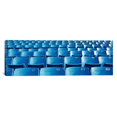 East Urban Home Panoramic Empty Blue Seats in a Stadium, Soldier Field, Chicago, Illinois Photographic Print on Canvas Size:
