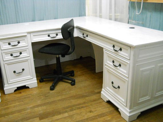 White Shabby Chic Executive Office Desk By Perfectlygoodstuff 600 00