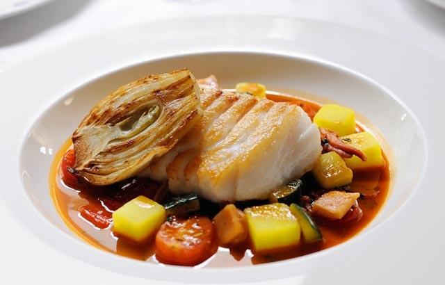 Cod with bouillabaisse sauce by Stephen Crane