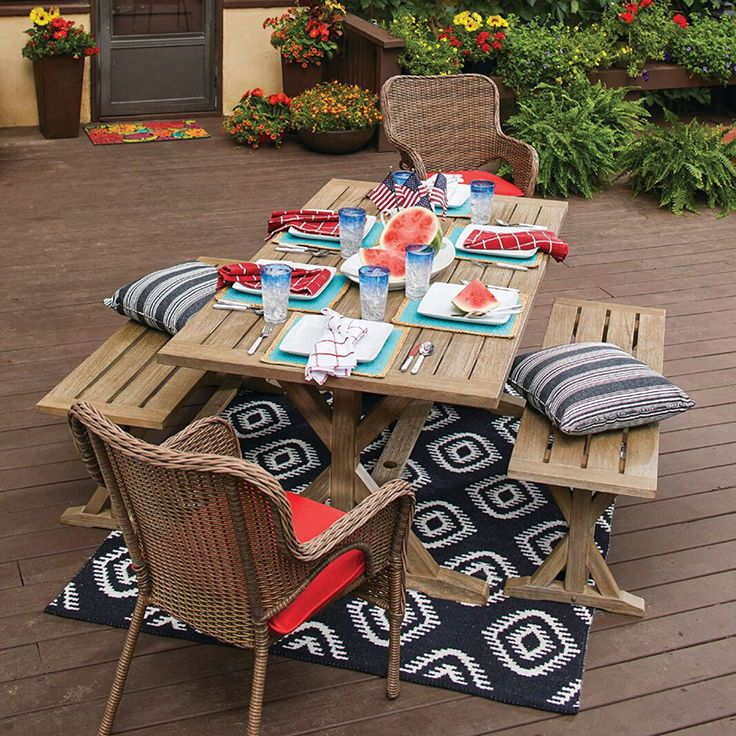 Outdoor Memorial Day Party Setup Featuring The Farmhouse Trestle Dining Table Barbecue Patio Backyard Summer