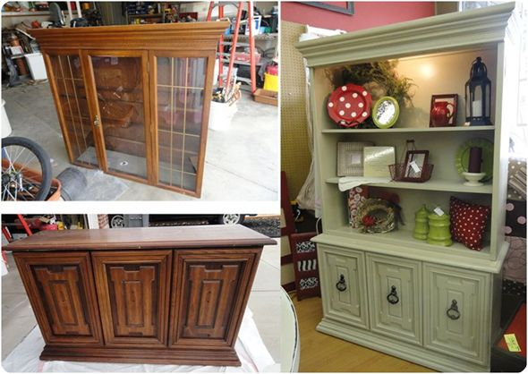 Redo on a Hutch.I think this would be great to take out that middle shelf and put a t.v in it.Storage above and below for all the other stuff that you have to have with it.