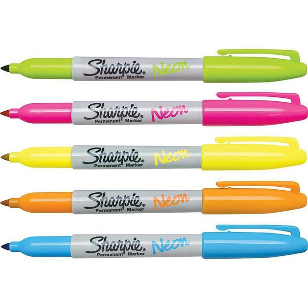 Sharpie Neon Fine Point Permanent Markers, 5/Pack