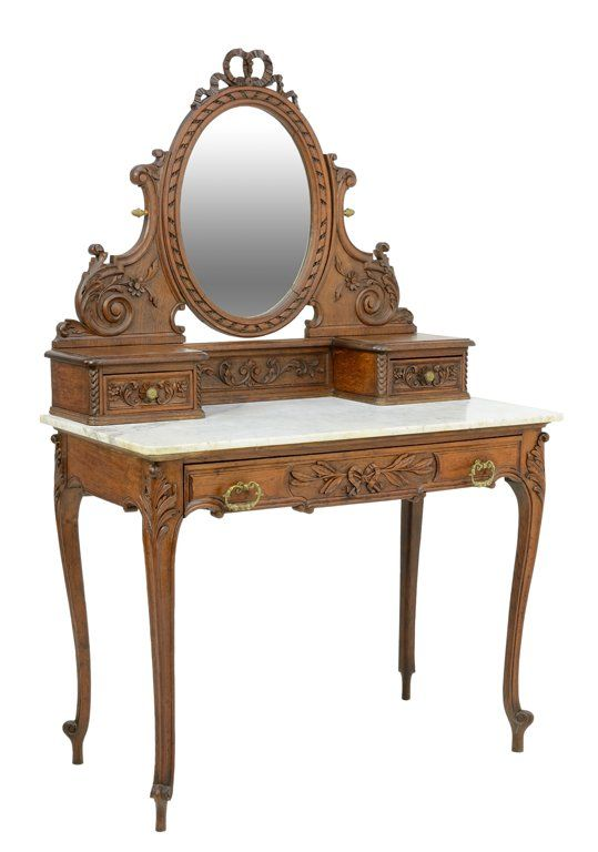 A FRENCH VICTORIAN EMPIRE STYLE DRESSING TABLE WITH CARVED RIBBON AND FLOWERS - Sold $500