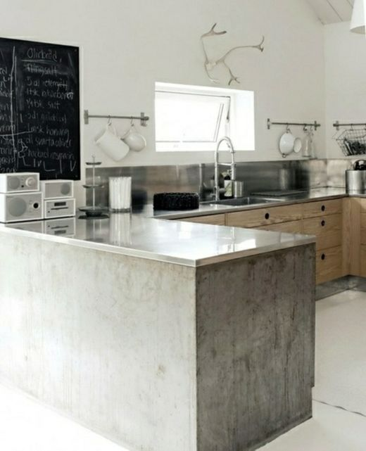scandinavian kitchen design. Concrete, wood, white.