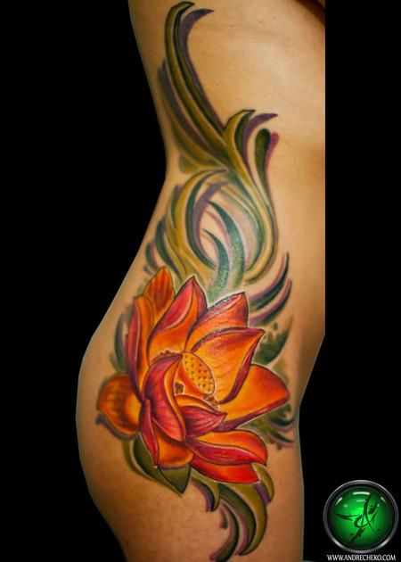 Lotus flower rib tattoo : Tattoos :