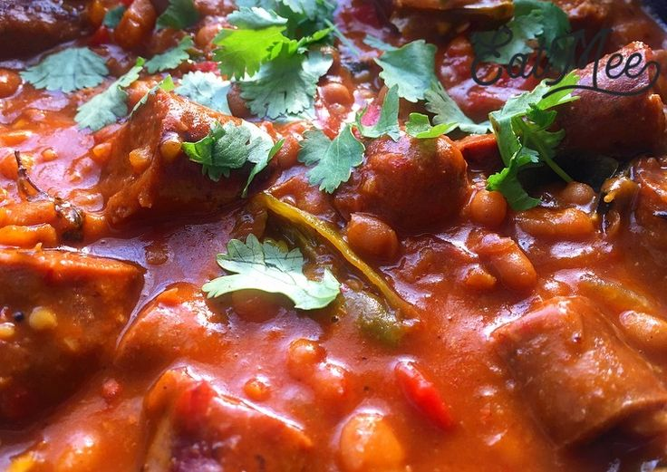 Sausage With Baked Beans Curry is usually prepared without any indian spices. In South Africa, this dish is made with spices to create a heat wave in the meal. This meal can be served throughout the day.