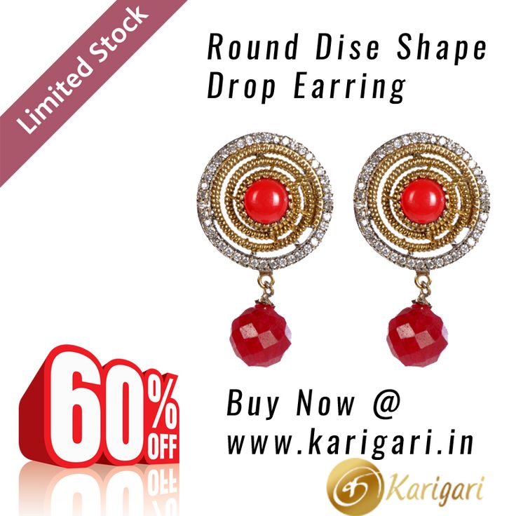 Awesome deals are now available at Karigari website - buy earring online at amazing discounts - visit this link http://www.karigari.in/product/round-dise-shape-drop-earring/ to buy this beautiful Round dise shape drop earring - hurry, we have limited stocks available.