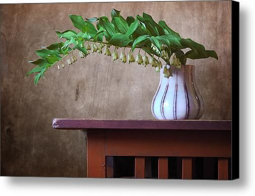 $74.96 Canvas Print: http://nikolay-panov.artistwebsites.com/products/branch-of-solomons-seal-nikolay-panov-canvas-print.html Floral still life with branch of Solomon's seal in vase on wooden table in countryside in summer