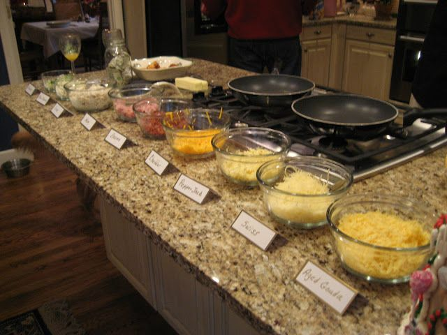 Breakfast Omelet Bar - fun for a sleepover! I would let them pick the toppings then make them their omelet or let them try DIY omelets