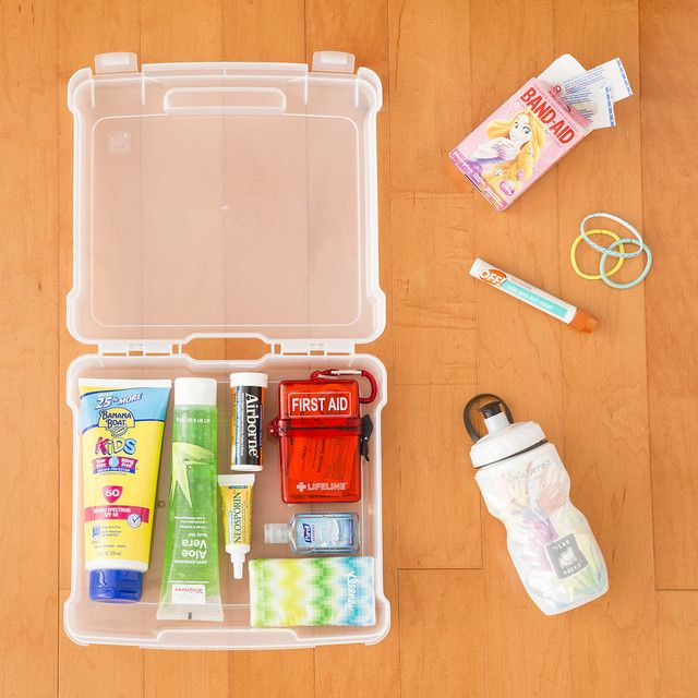 "Pack a small ""must have"" storage container with items like sunscreen, lip balm, a mini first aid kit, hair ties, etc for your child's summer camp trip. Most camps will want you to also send a small day bag or backpack for excursions and your child can fill it up each day as needed."