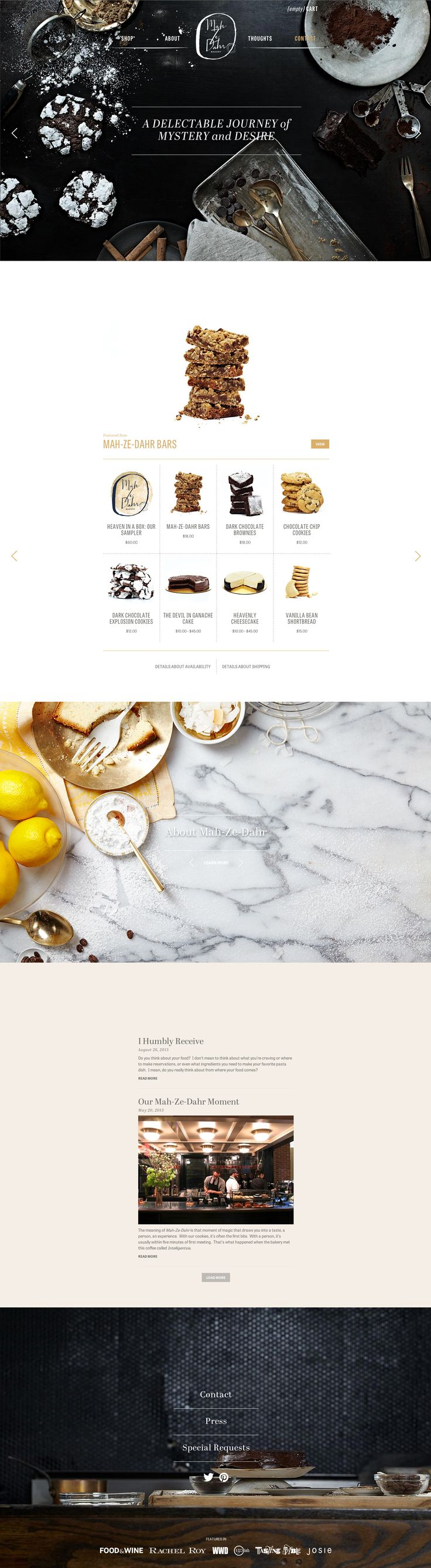 Superbe, à la fois élégant, appétissant et parfaitement hiérarchisé - Powerful single page website for Mah Ze Dahr Bakery. Design and development by W&Co.