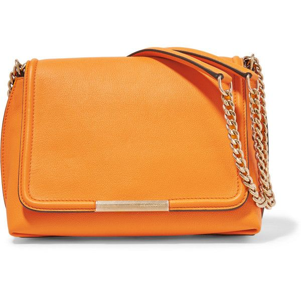 Emilio Pucci Textured-leather shoulder bag (32.545 RUB) ❤ liked on Polyvore featuring bags, handbags, shoulder bags, orange, shoulder bag handbag, shoulder hand bags, emilio pucci purse, shoulder strap bags and orange handbags