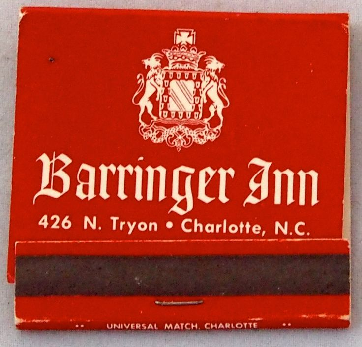 Barringer Inn - Charlotte, NC. 30 strike #frontstriker #matchbook - To order your Business' own Branded #matchbooks or #matchboxes GoTo: www.GetMatches.com or CALL 800.605.7331 TODAY!