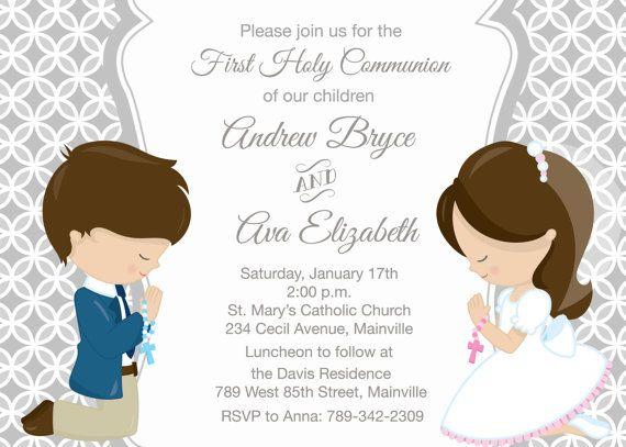 Primera invitación de la comunión de hermanos gemelos