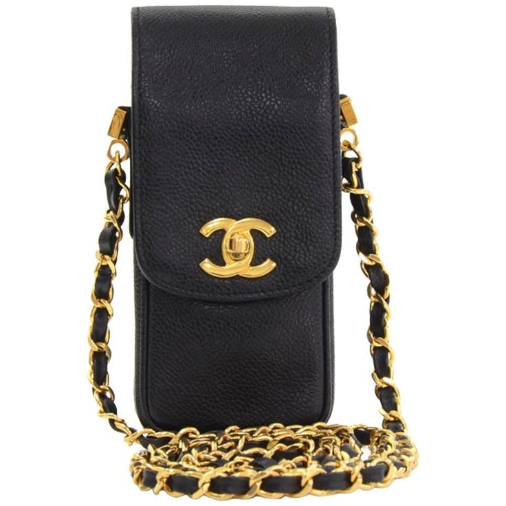 Chanel Black Caviar Leather Shoulder Case Bag | From a collection of rare vintage shoulder bags at https://www.1stdibs.com/fashion/handbags-purses-bags/shoulder-bags/
