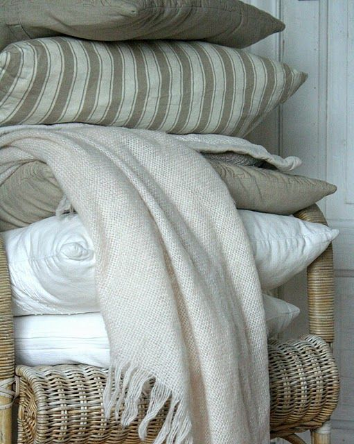 taupe and stripes... i love both!Colors, White Beds, Linens, White Bedding, Bedrooms, Favorite Textiles, Cozy Classic, Comfy Cozy, Neutral Palettes