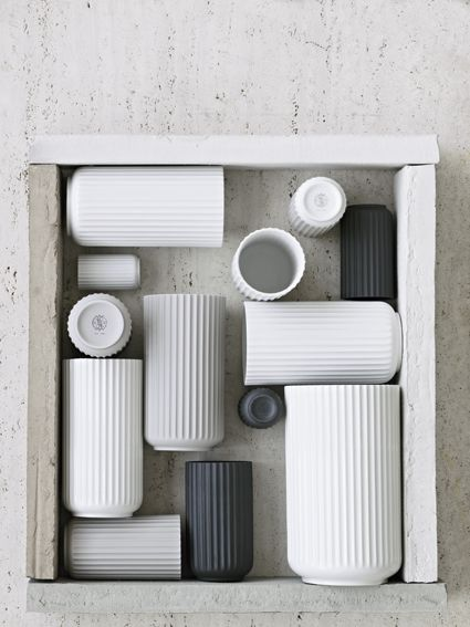 Lyngby Porcelæn was founded in 1936, just outside Copenhagen, Denmark. It manufacture vases and other decorative objects. Their most popular product, The Lyngby Vase, was designed under rule of the 30's Bauhaus form/function design wave.