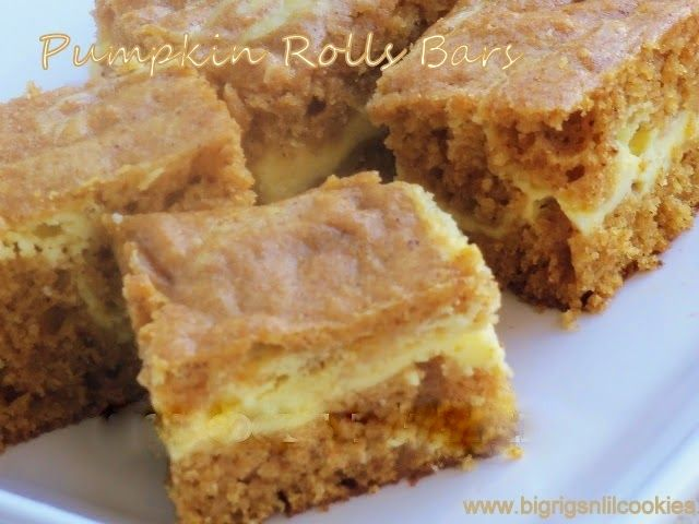 Pumpkin Roll Bars Recipe Desserts with unsalted butter, granulated sugar, large eggs, pumpkin, vanilla, water, all-purpose flour, ground cinnamon, ground cloves, ground ginger, ground nutmeg, baking soda, baking powder, salt, cream cheese, granulated sugar, vanilla, large eggs