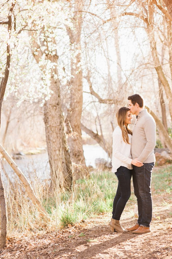 Another lovely engagement photo shoot! We just love the backdrops they used. If you're at a loss for how to create beautiful fall pictures without the fall leaves, why not go natural with the bare branches and bright skies of late Utah autumn. Simple, lovely, beautiful!