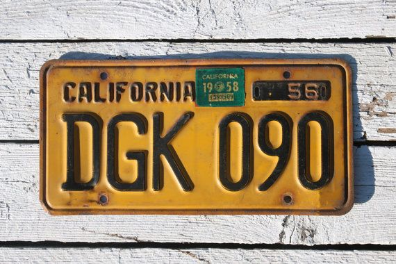 1956 California License Plate DGK 090 (DGK090) with 58 Registration Sticker Black on Yellow Orange    #1958Registration #1956LicensePlate #california #LicensePlate #California1956 #CaliforniaLicense #LicensePlateDgk090 #DGK090 #yellow