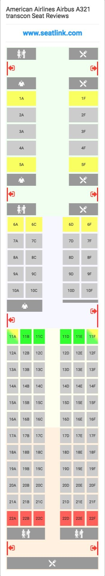 American Airlines Airbus A321 transcon (32B) Seat Map ...