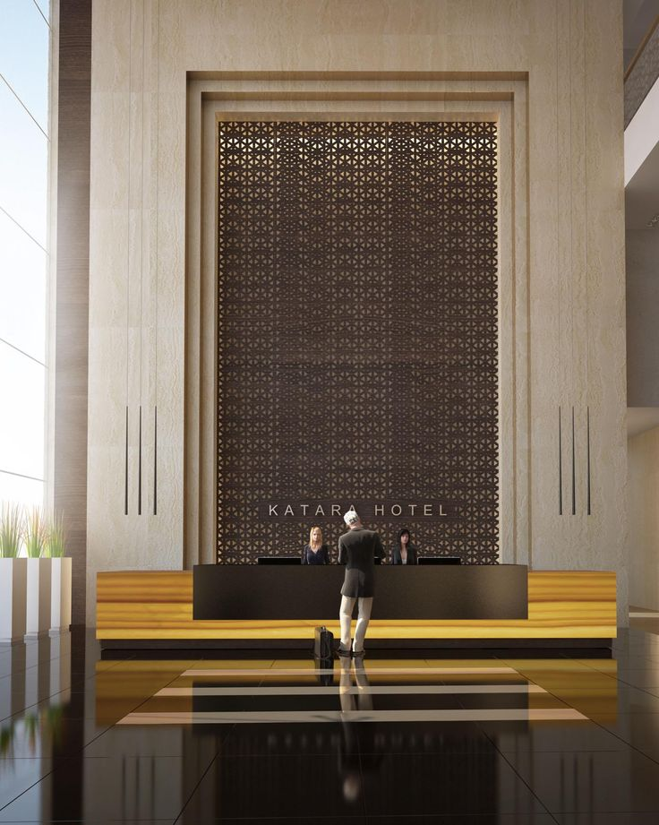 strong materials, clean lines. for the area behind the desk, it may work to stagger something like the lattice w/ the stone in order to create side entrances to the concierge/security storage area w/o the visitor getting a direct view into that back room.