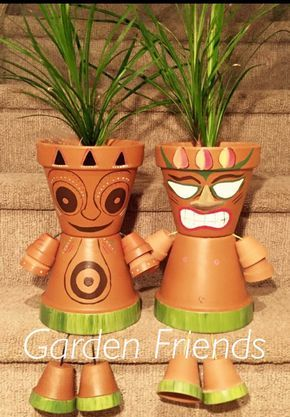 Clay Flower Pot People, Hawaiian Hula Tiki Guy, Luau Party Decorations, Tiki Decor, Flower Pot Statue, Flower Pot People, by GARDENFRIENDSNJ on Etsy https://www.etsy.com/listing/457997568/clay-flower-pot-people-hawaiian-hula