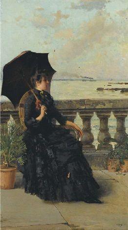Vittorio Matteo Corcos (Italian, 1859–1933) Title: Livorno, signora sulla terrazza a mare Medium: oil on canvas Size: 95 x 54 cm. (37.4 x 21.3 in.)